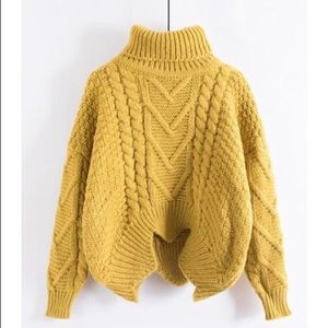 Cropped Cable Knit Turtleneck